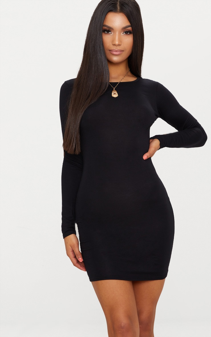 Basic Black Jersey Long Sleeve Bodycon Dress 1