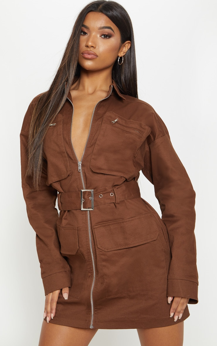 Chocolate Belted Pocket Front Utility Shift Dress 2
