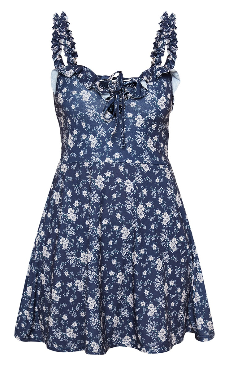 Navy Ditsy Floral Ruched Frill Strap Skater Dress 3