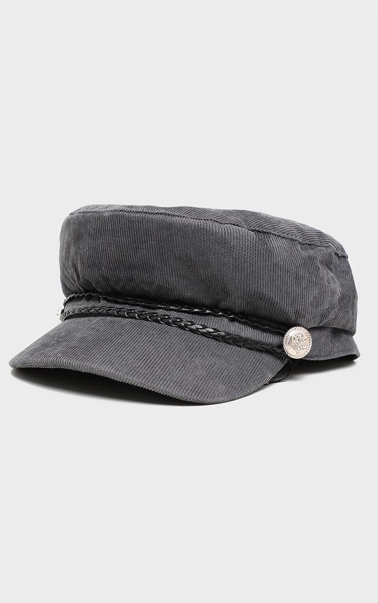 Casquette gavroche en velours côtelé gris à tresse en cuir 3
