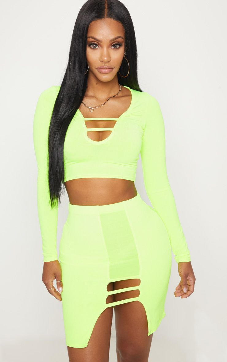 Shape Lime  Slinky Cut Out Detail Bodycon Skirt 1