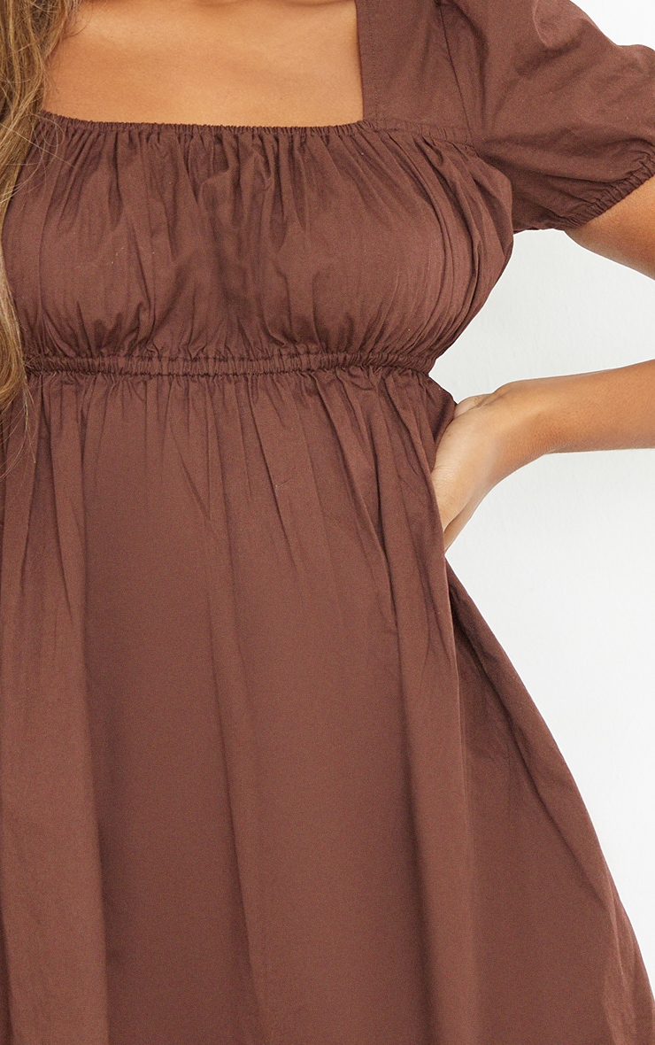 Chocolate Ruched Bust Short Sleeve Square Neck Shift Dress 4