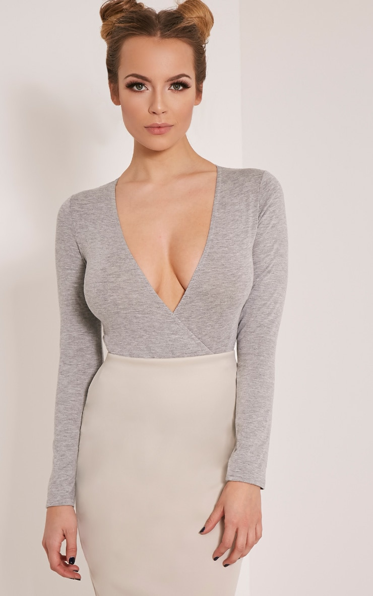 Freida Grey Jersey Thong Cross Front Bodysuit 1