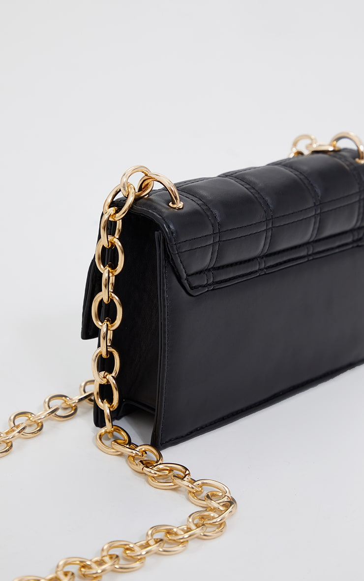 Black Mini Square Quilted Chunky Gold Chain Cross Body Bag 4
