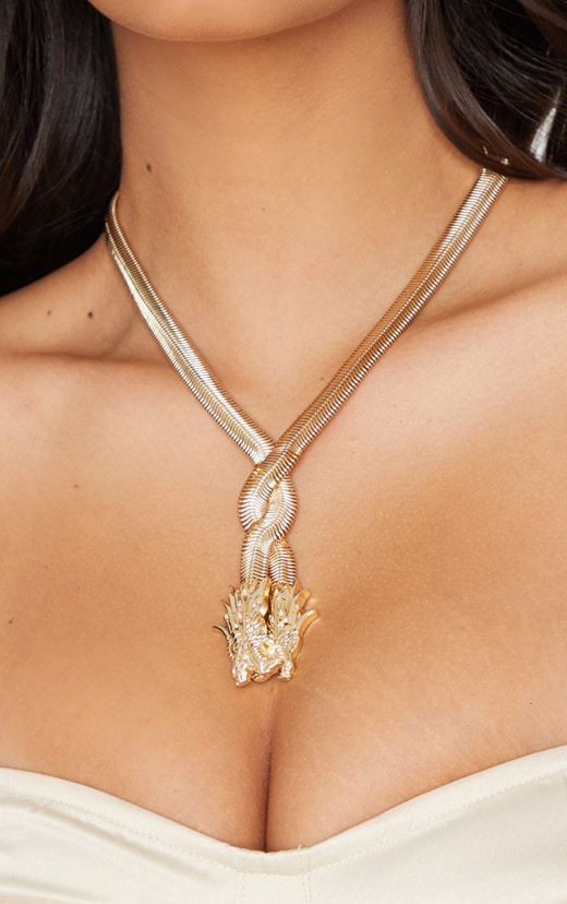 Gold Snake Chain Dragon Head Necklace 1