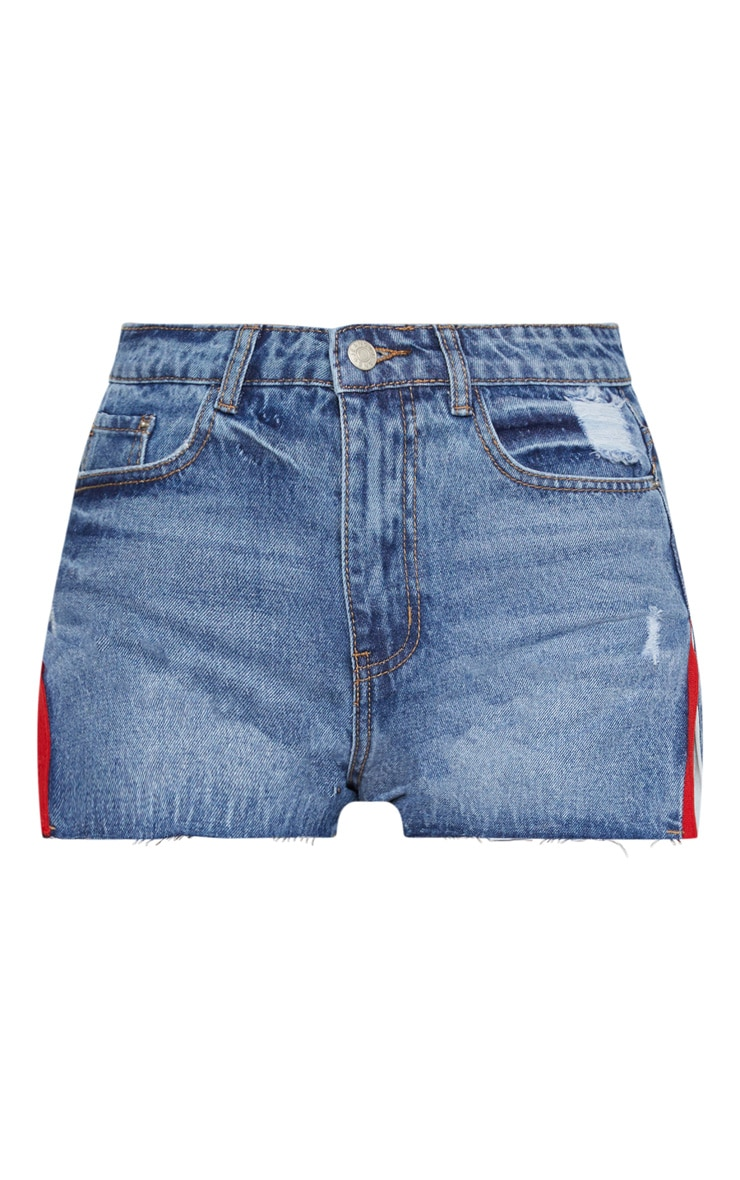 Mid Wash Sports Stripe Split Side Denim Shorts 3