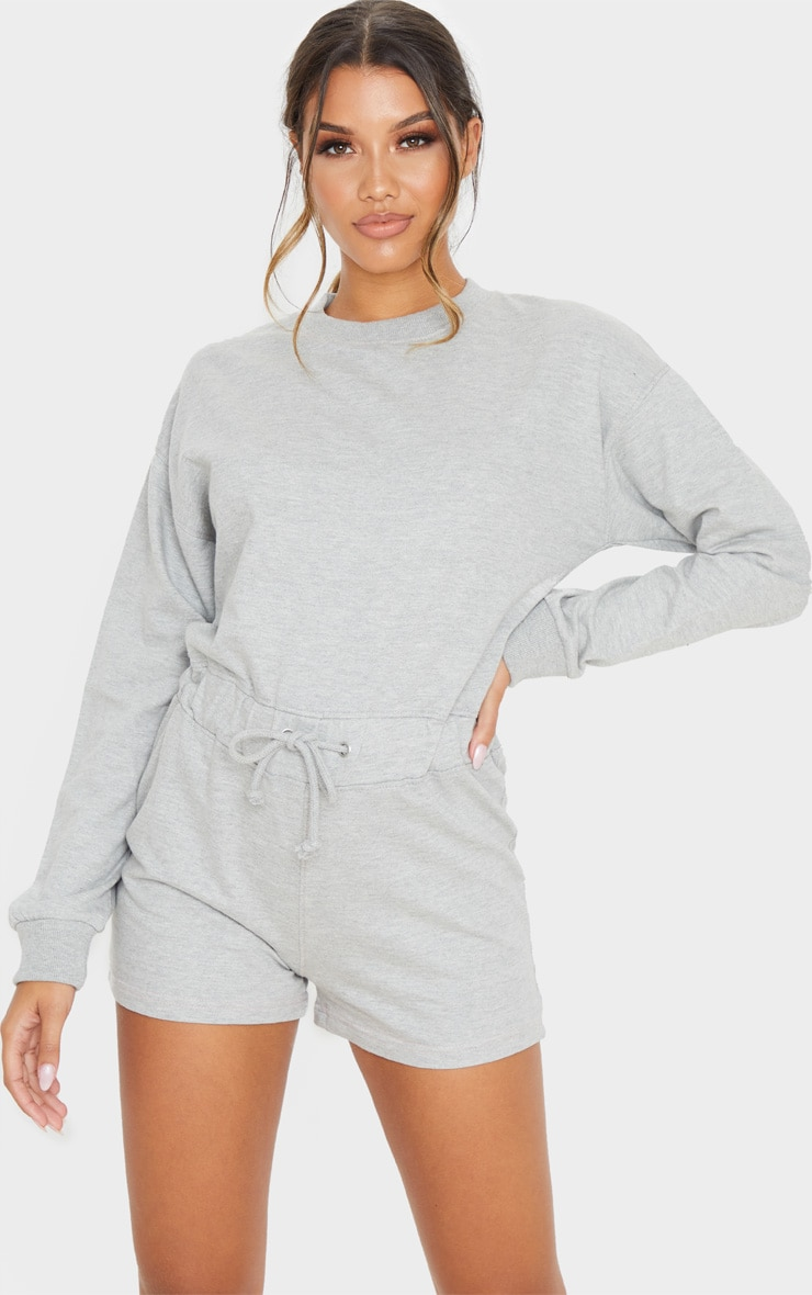 Grey Sweat Long Sleeve Contrast Stitch Playsuit 4