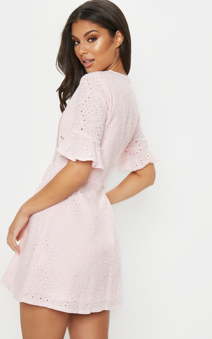 Pink Broderie Anglaise Frill Sleeve Skater Dress 2