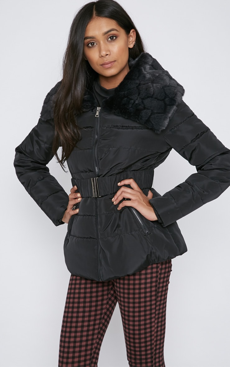 Mara Black Quilted Coat 5