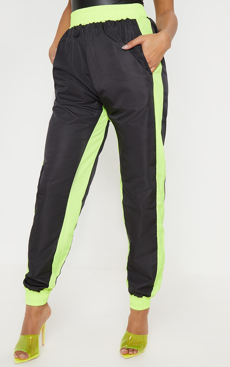 Black Contrast Panel Shell Jogger 2
