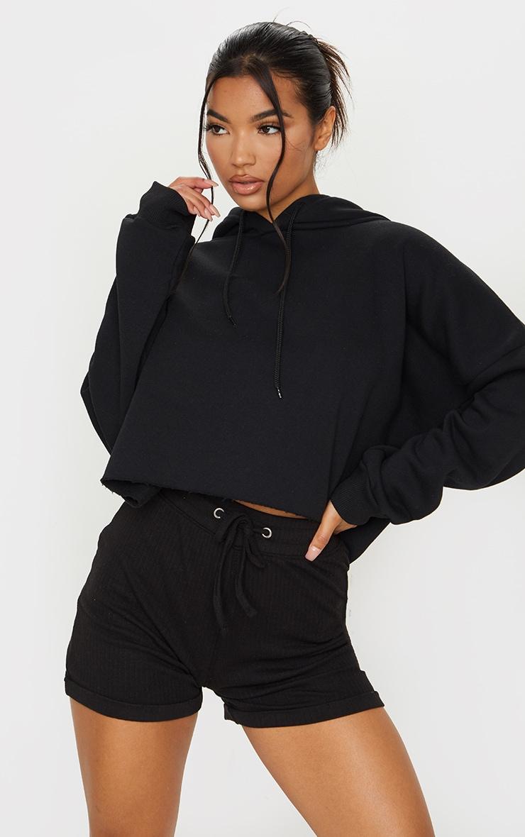 Black Structured Rib Drawstring Waist Shorts 1