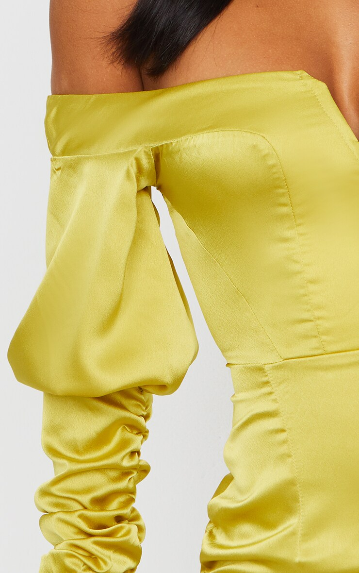Chartreuse Satin Bardot V Bar Ruched Sleeve Bodycon Dress 4