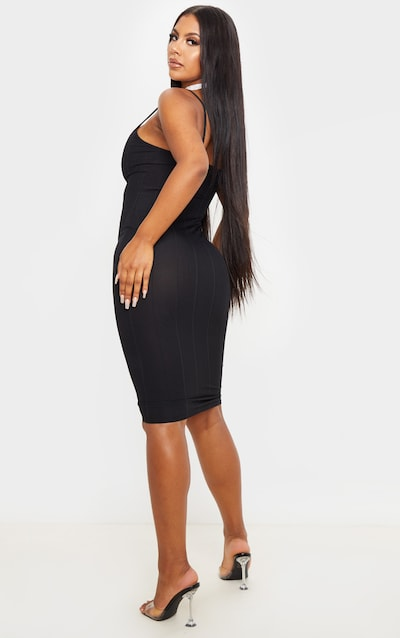 Black Strappy Bandage Rib Midi Dress