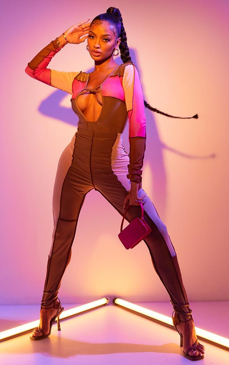 Shape Pink Mesh Panel Detail Lace Up Long Sleeve Bodysuit 1