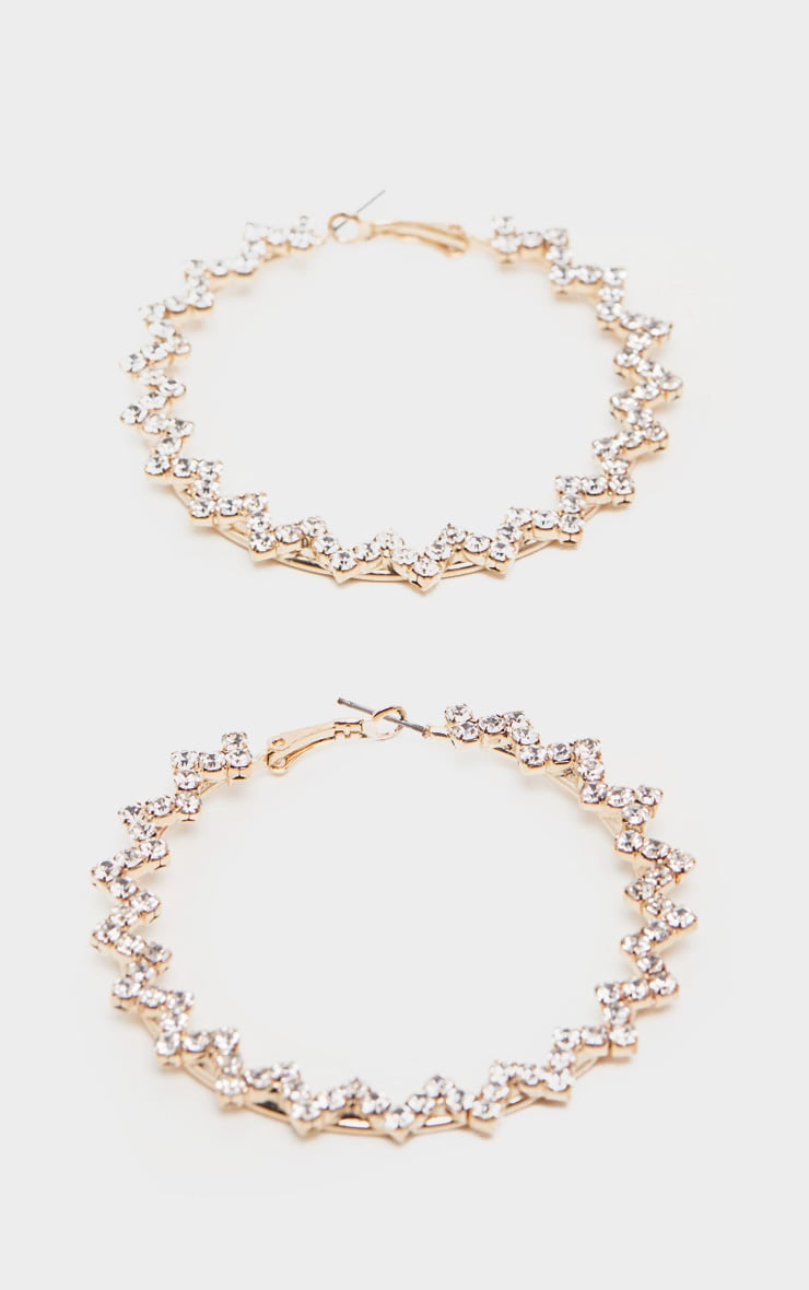 Crystal Diamante Zip Zag Hoops by Prettylittlething