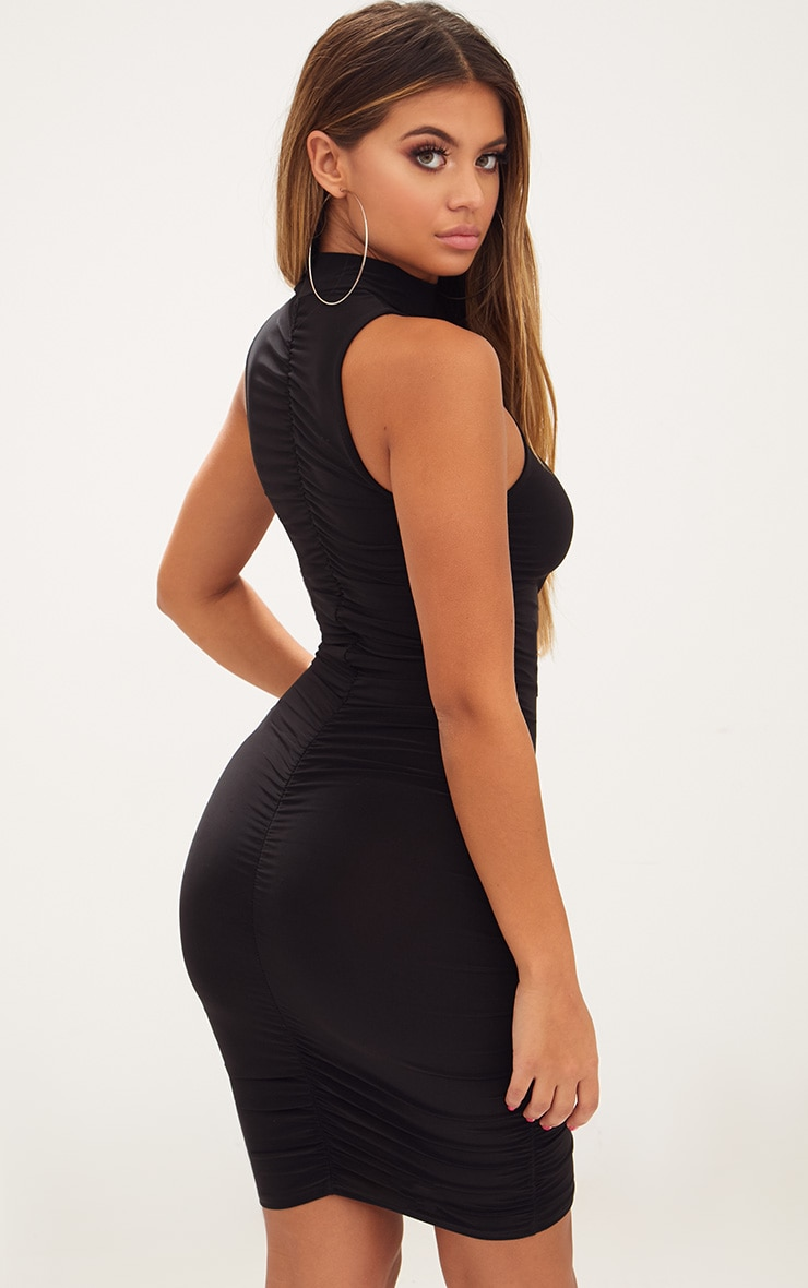 Black High Neck Sleeveless Ruched Slinky Bodycon Dress 2