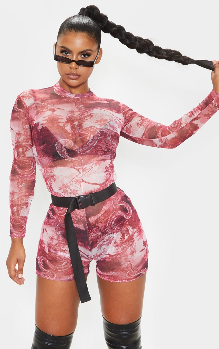 Red Oriental Print Mesh Long Sleeve Unitard 1