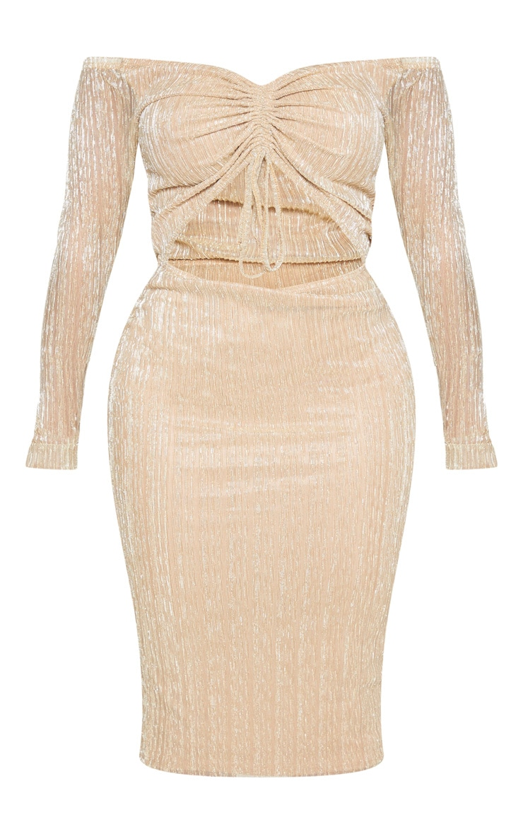 Shape Gold Plisse Bardot Cut Out Midi Dress 3