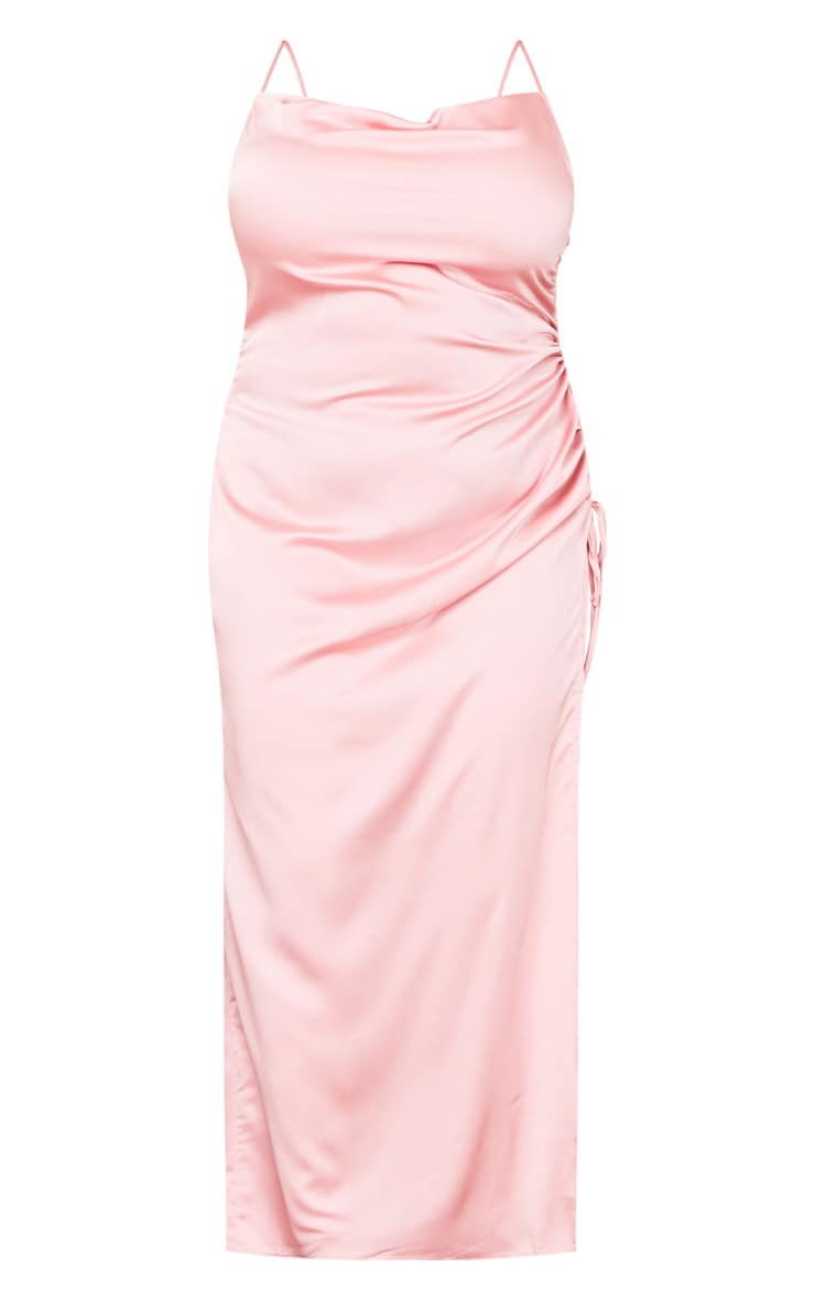Plus Dusty Pink Satin Cowl Ruched Side Maxi Dress 5