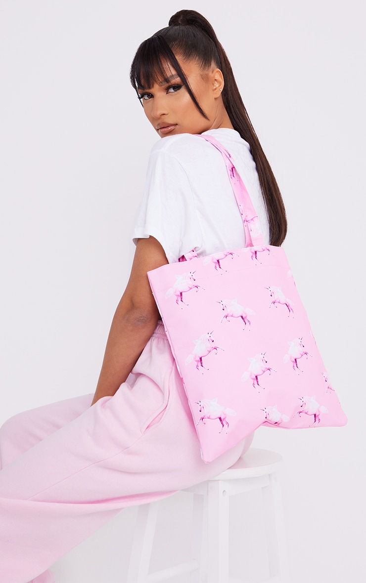 PRETTYLITTLETHING Unicorn Pink Canvas Tote 1