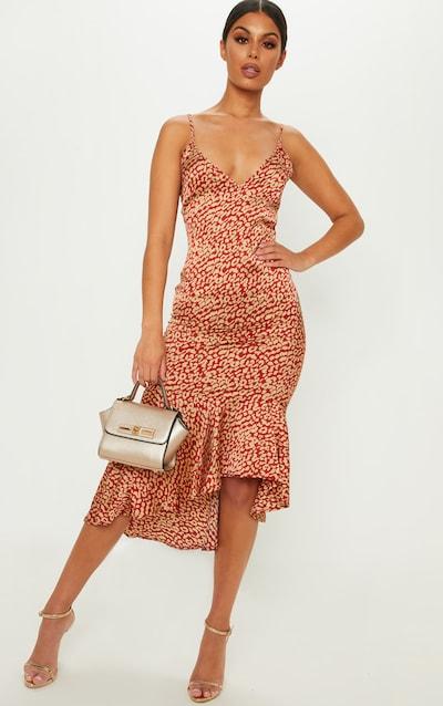 Red Leopard Print Frill Hem Midi Dress