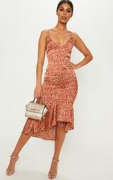 Red Leopard Print Frill Hem Midi Dress 1