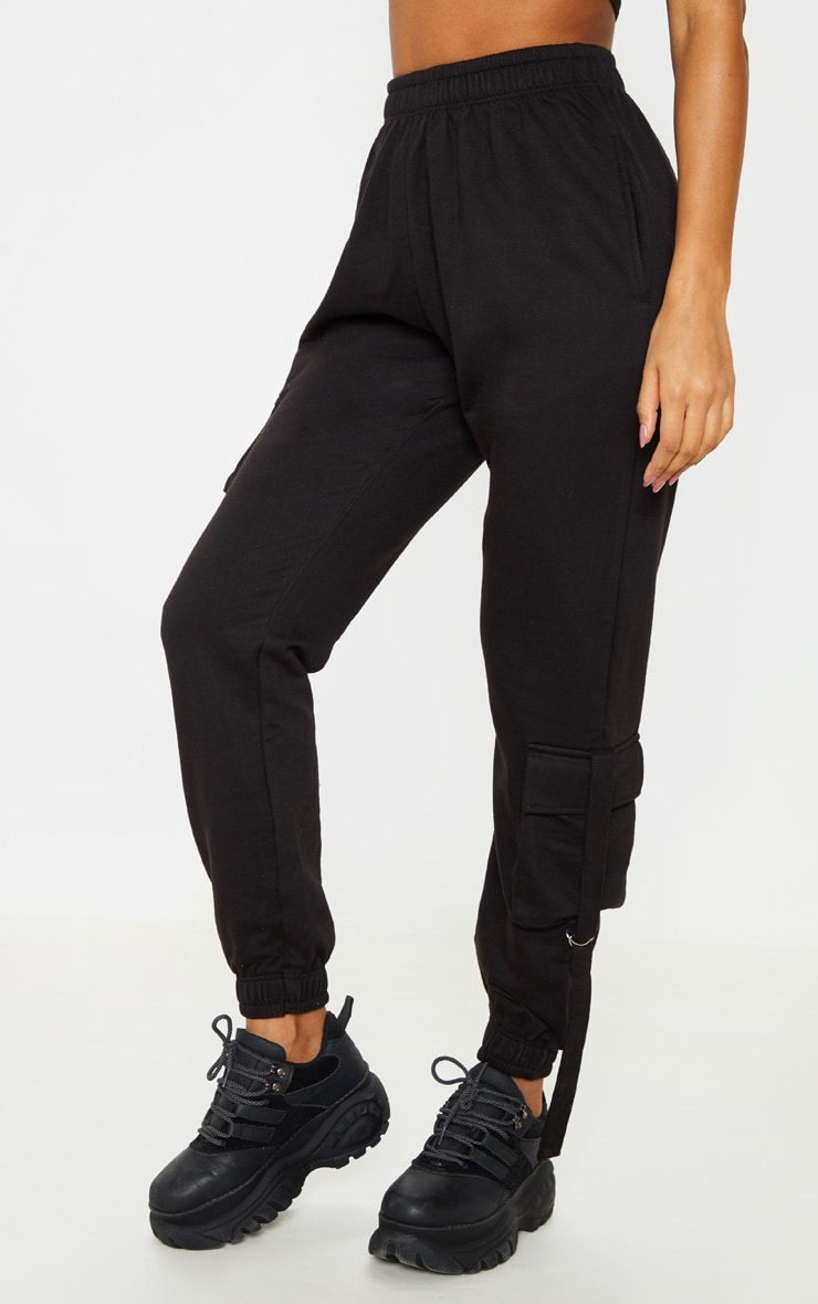 Black Cargo Detail Casual Jogger 2