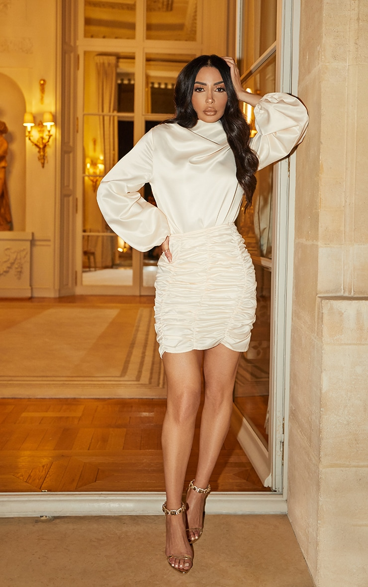 Cream Ruched Panel Mini Skirt 1
