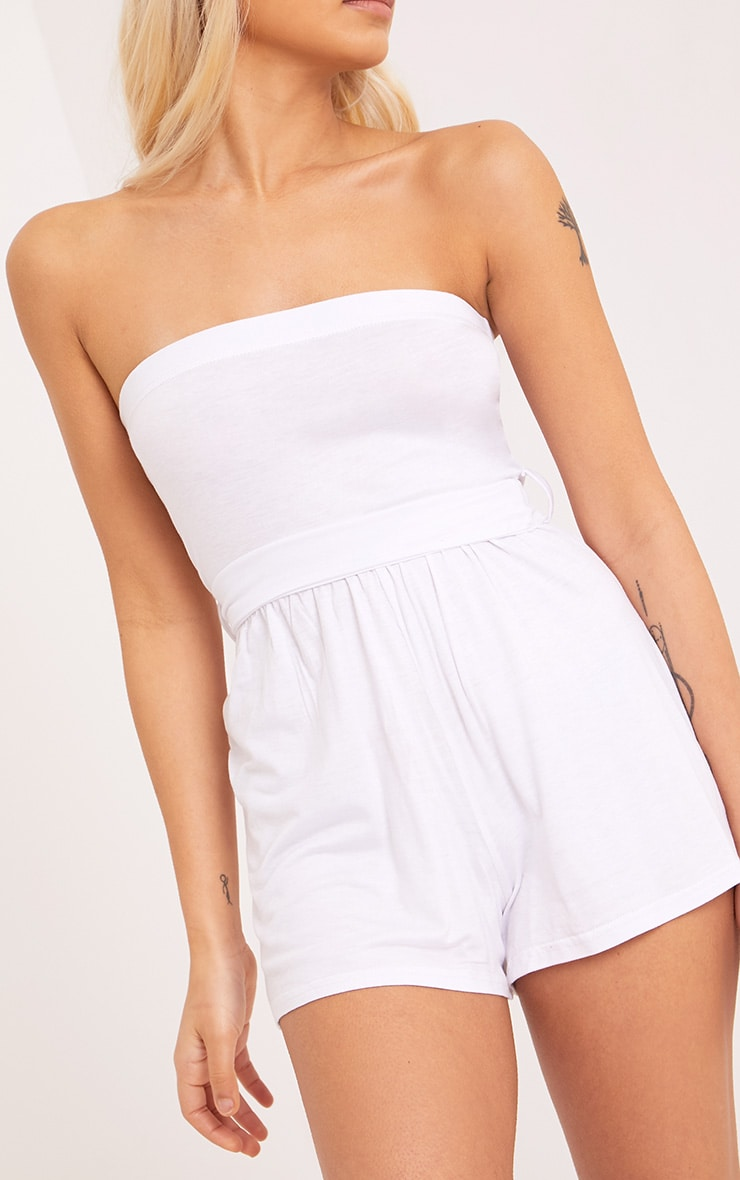 Ieshah White Jersey Bandeau Playsuit  5