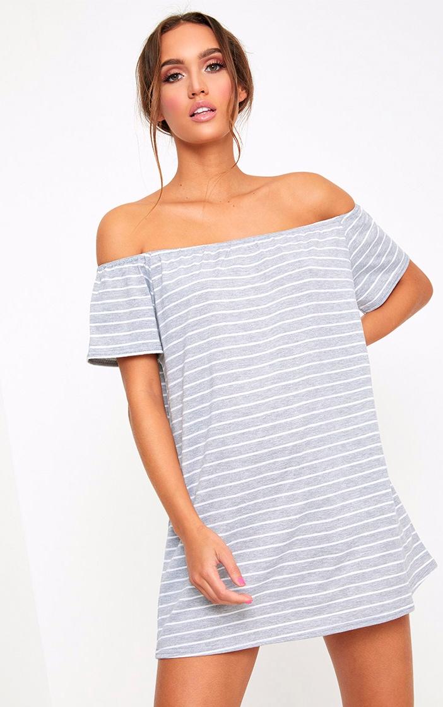 Grey Stripe Bardot Shift Dress 1