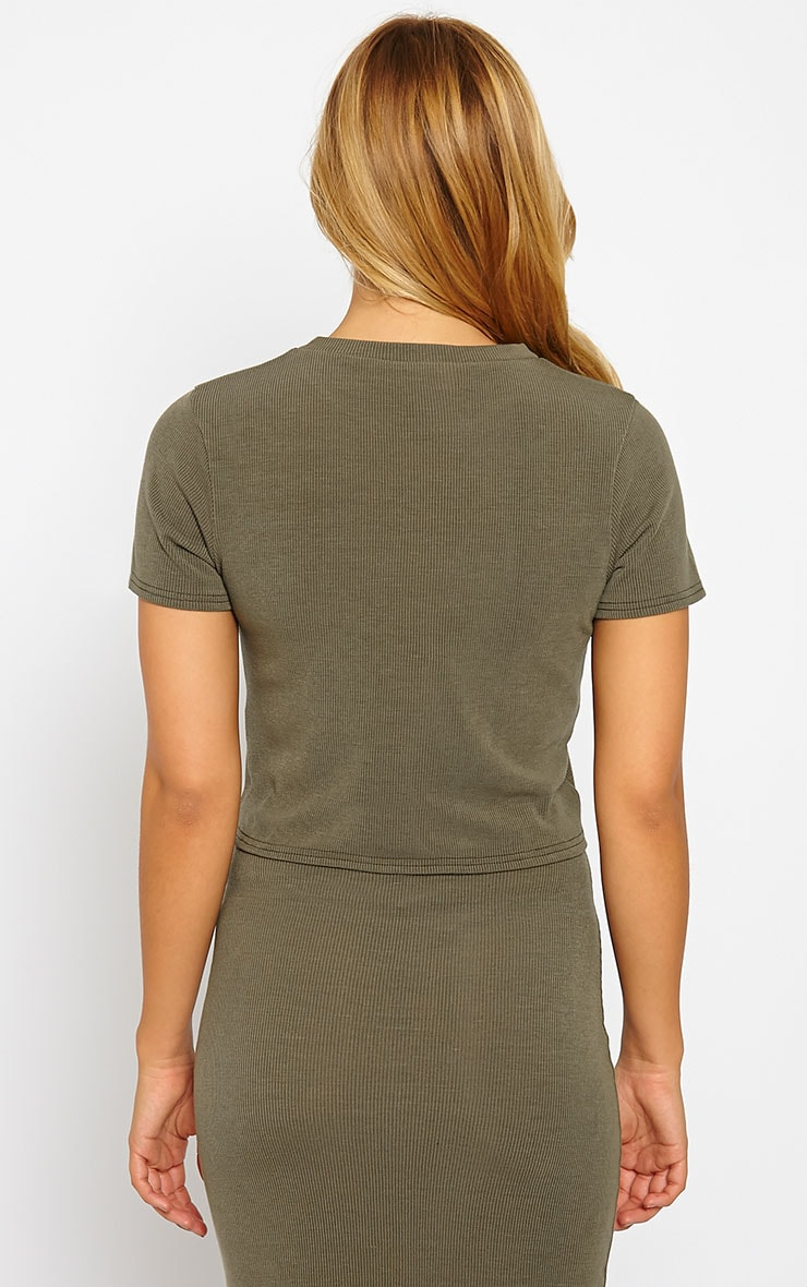 Basic Khaki Short Sleeve Crop Top 2