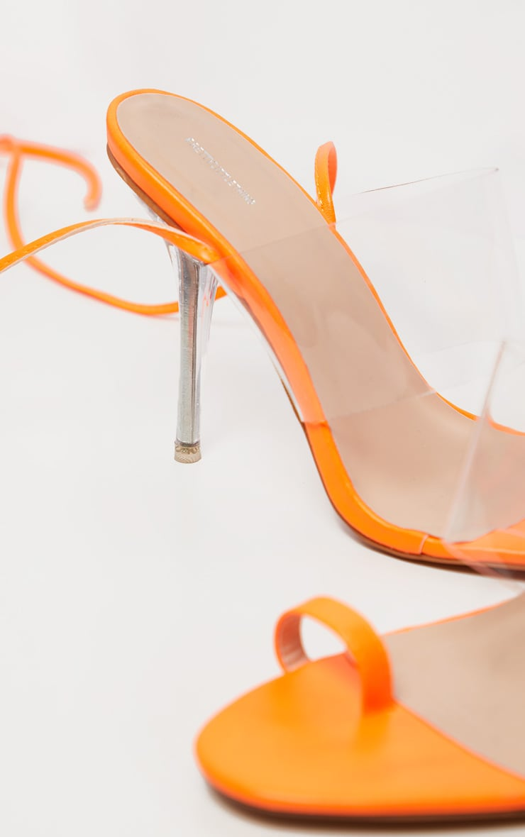 Orange Clear Heel Toe Loop Ankle Tie Sandal 4