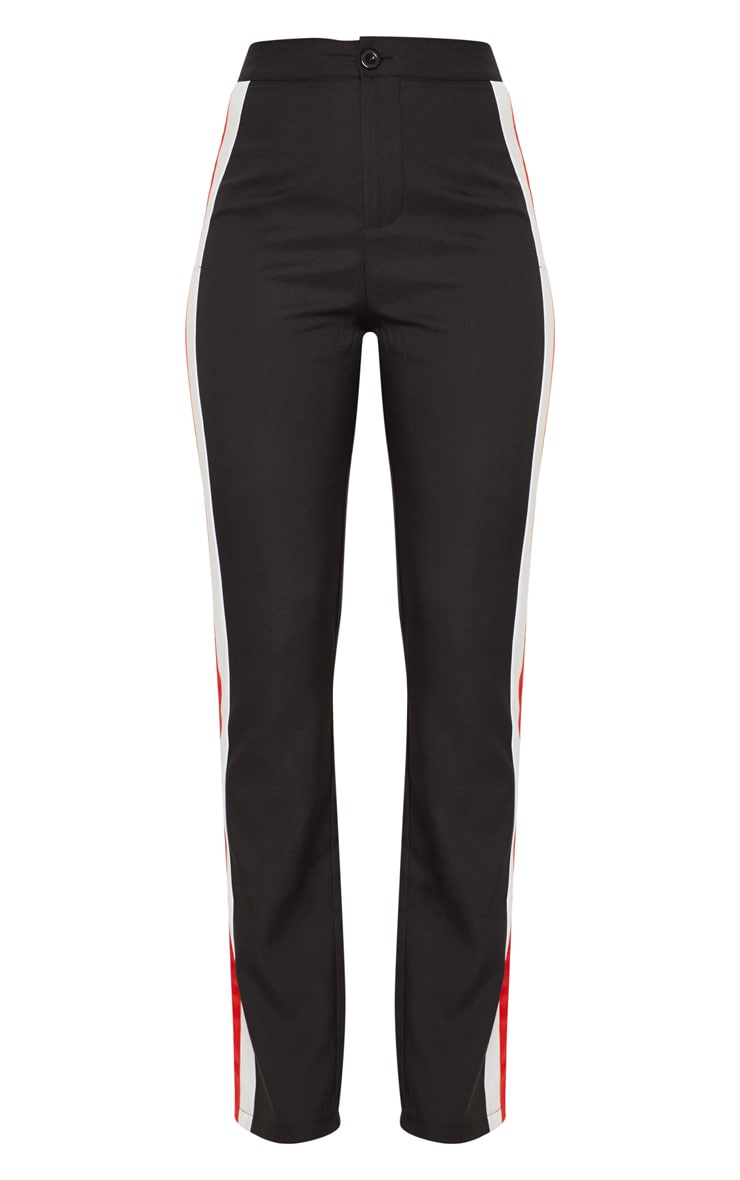 Black Tailored Side Stripe Straight Leg Trouser 3