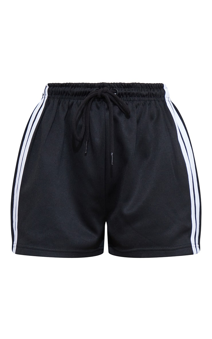 Black Side Stripe Track Shorts 6