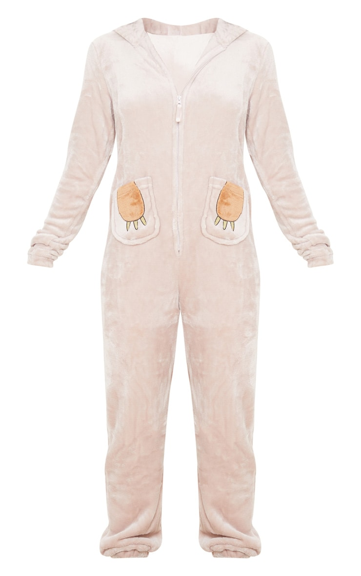 Beige Sloth Hooded Onesie 3