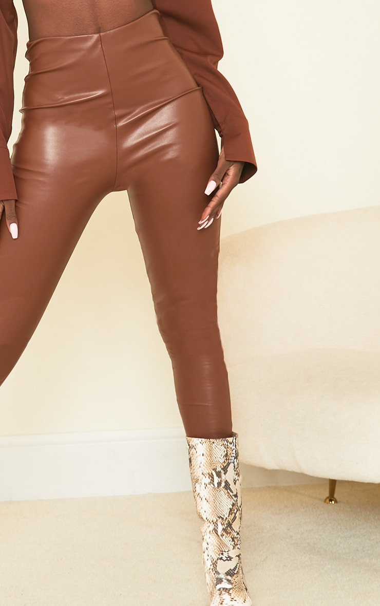 Tall Tan Basic Faux Leather High Waist Leggings 4
