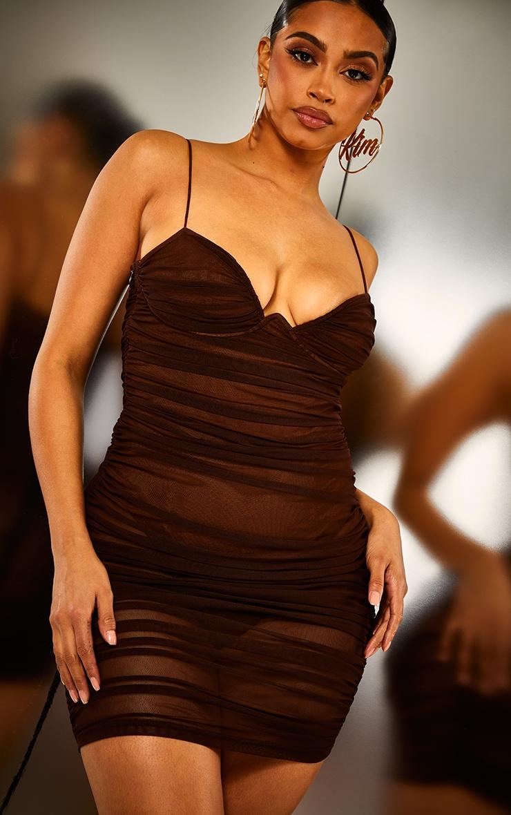 Brown Ruched Mesh Underwire Bodycon Dress 5