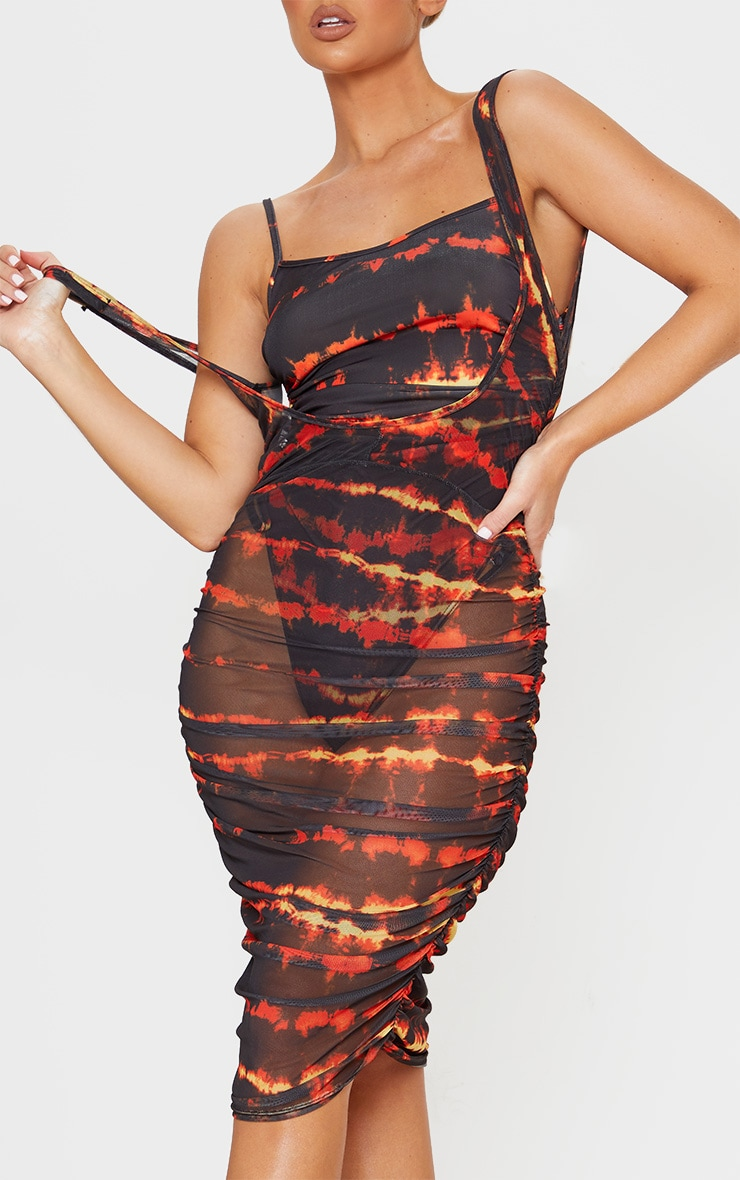 Red Tie Dye Ruched Side Midi Beach Dress 5