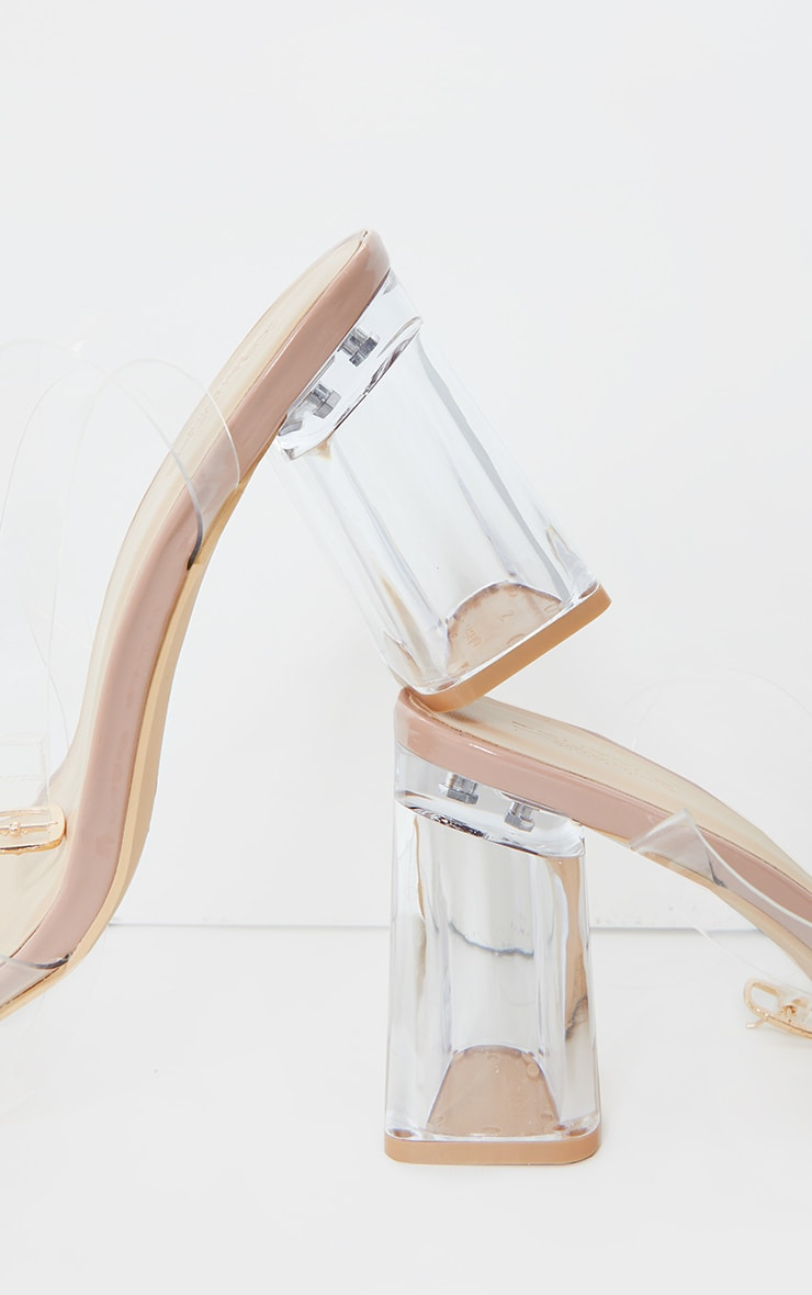 Nude Wide Fit Clear Flared Block Heel Sandals 3