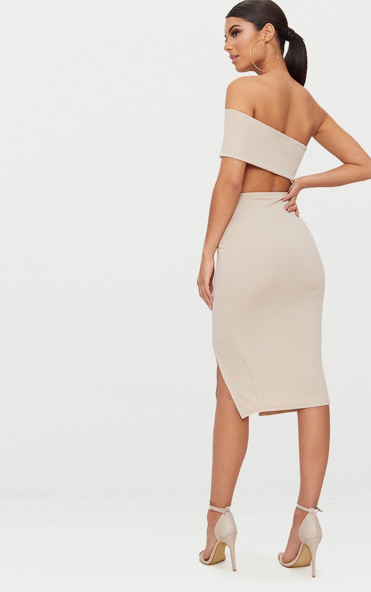 Stone One Shoulder Asymmetric Cut Out Midi Dress 2