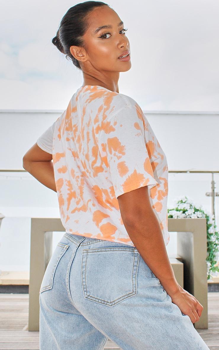 Petite Orange Tie Dye Cropped T Shirt 2