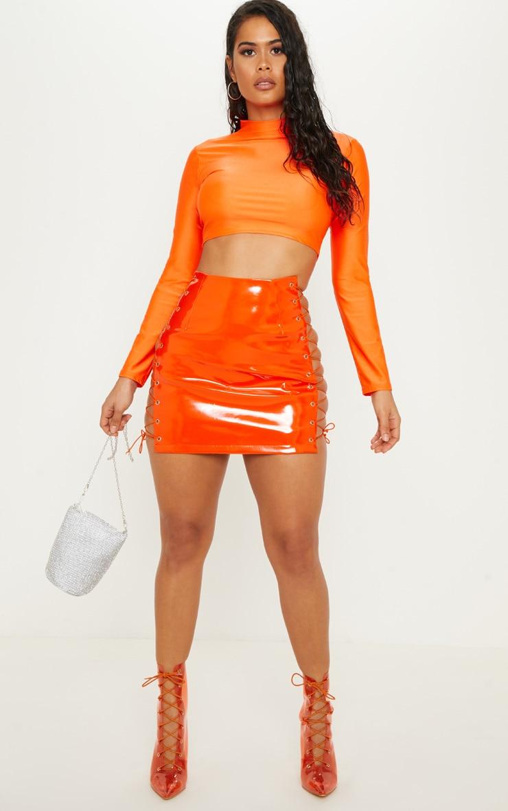 Neon Orange Vinyl Lace Up Side Mini Skirt by Prettylittlething