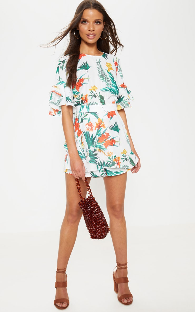 White Tropical Print Frill Sleeve Tie Back Romper 4