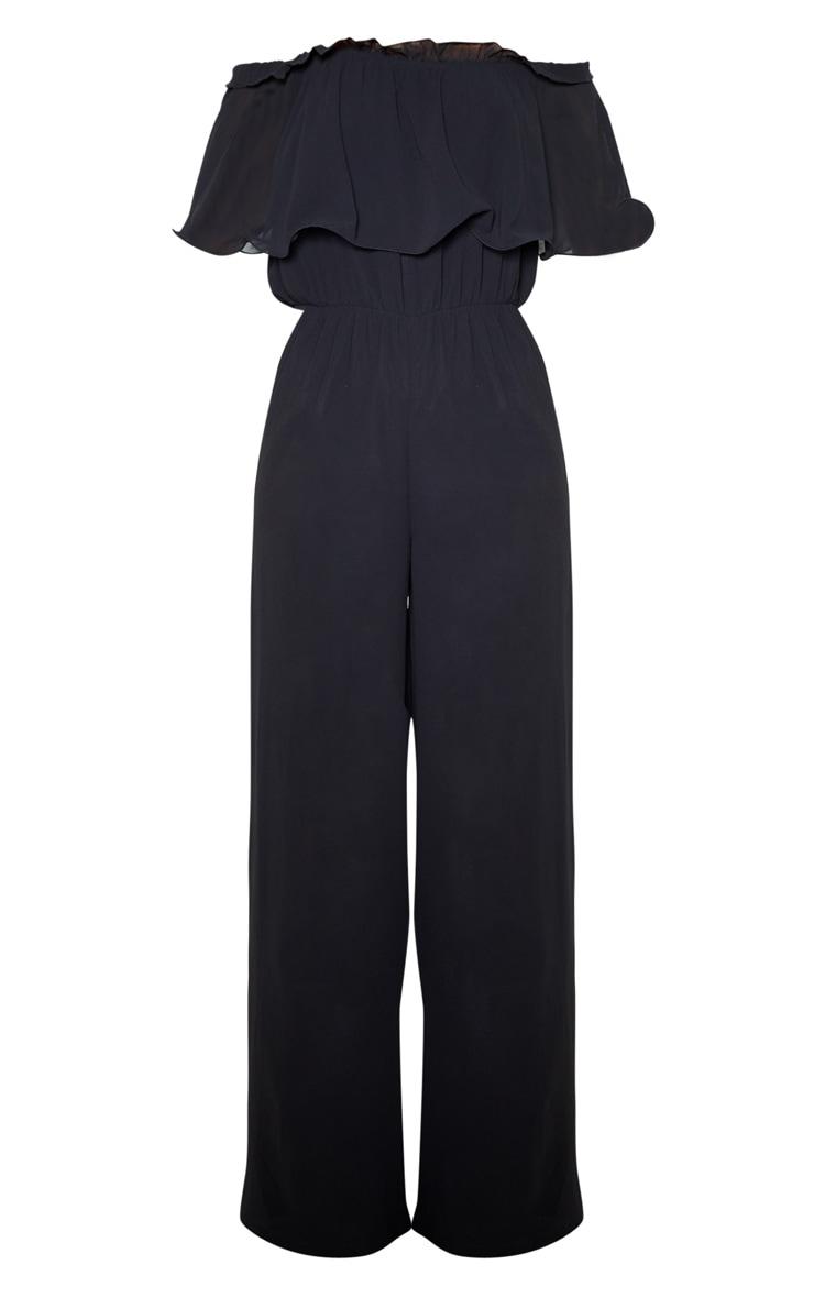 Black Chiffon Bardot Ruffle Jumpsuit 3