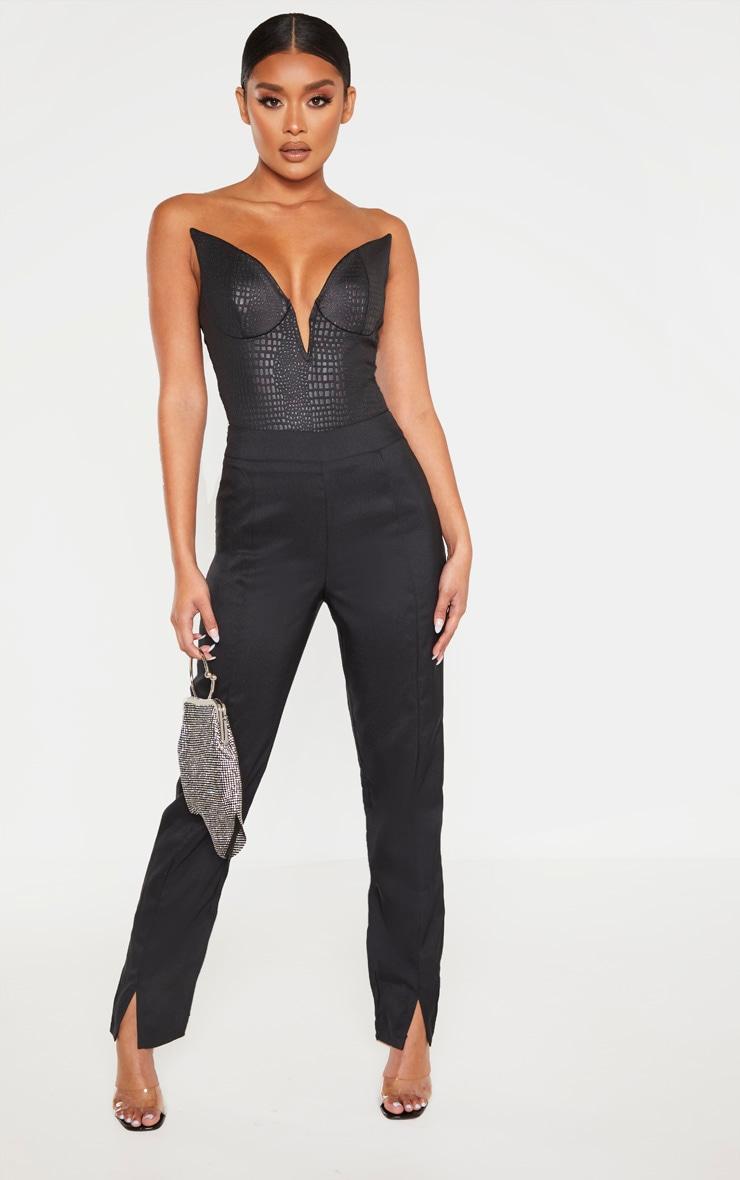 Black Faux Leather Croc Deep V Bodysuit 4