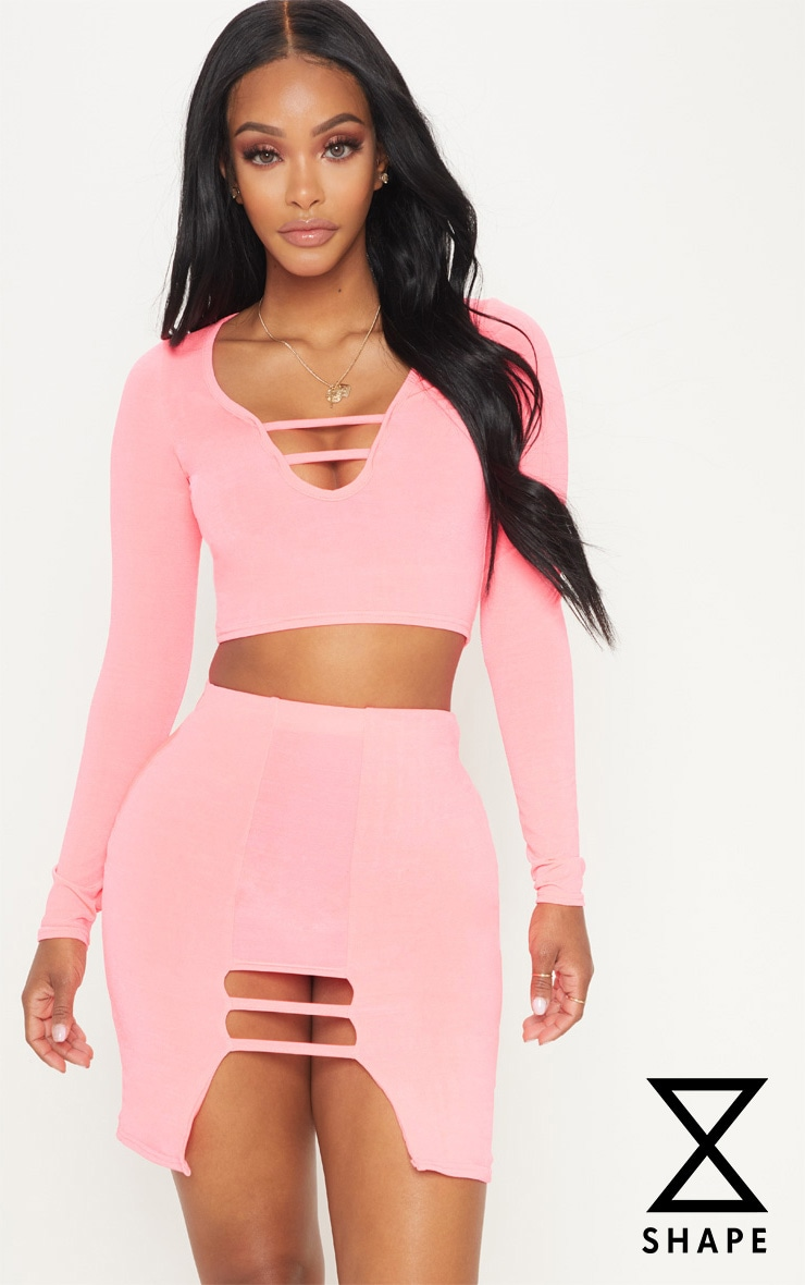 Shape Neon Coral Slinky Long Sleeve Cut Out Detail Crop Top