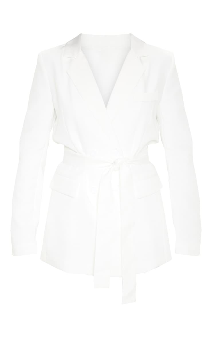 Rebecca Cream Belted Suit Blazer 3