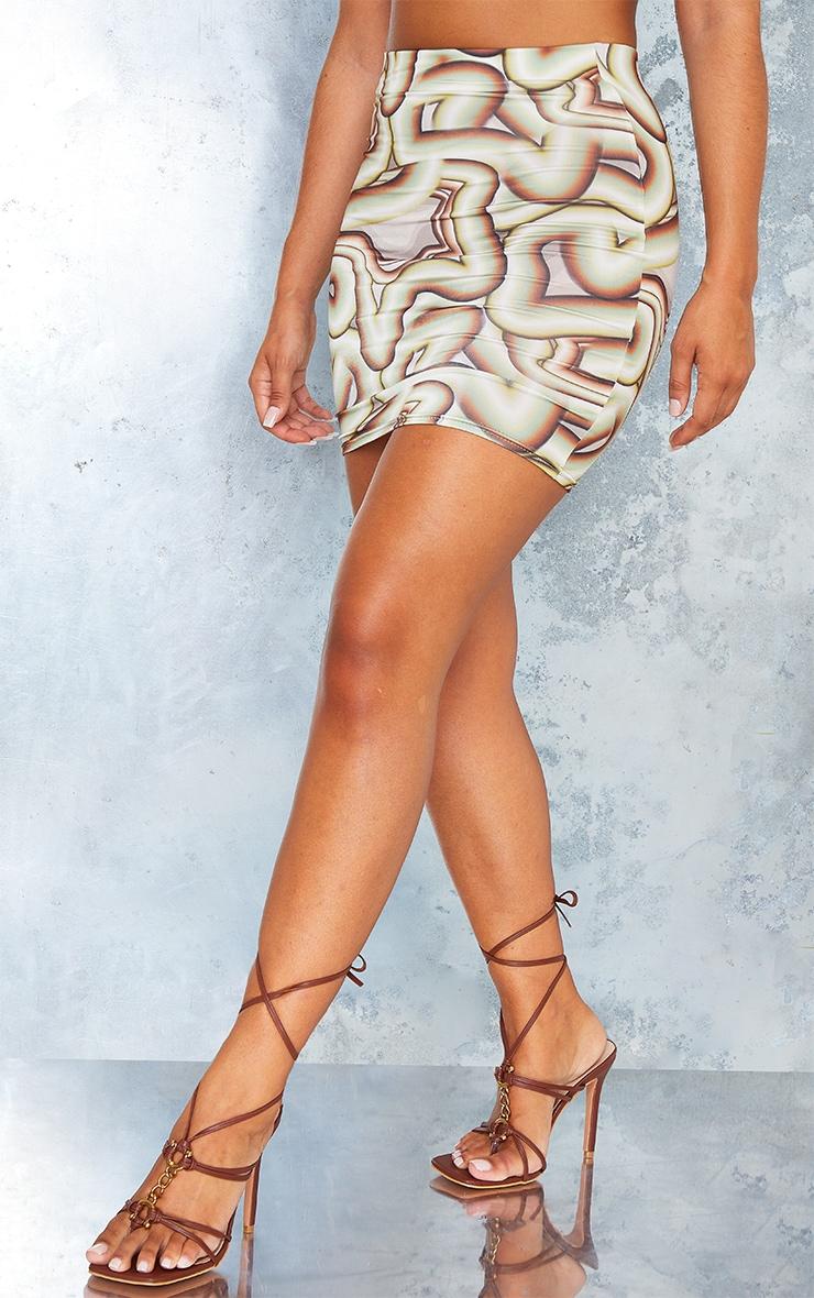 Green Swirl Print Slinky Ruched Side Mini Skirt 2