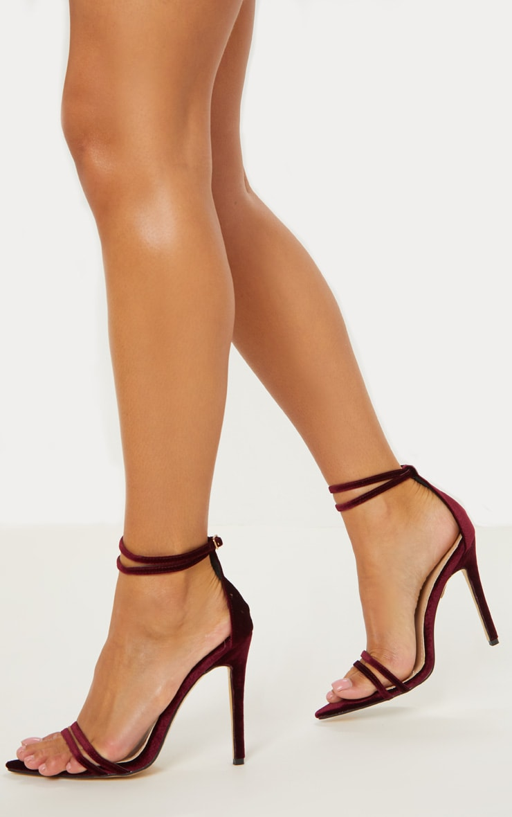 Burgundy Velvet Point Toe Strappy Sandal 2