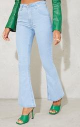 Petite Light Wash Stretch Denim Flare Jeans 2